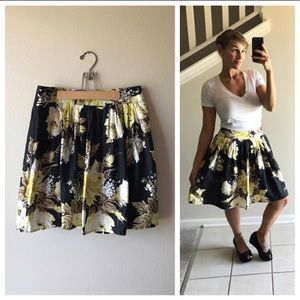 LOFT A Line Pleated Skirt Yellow Taupe Floral 6 P